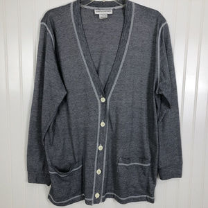 CATHY DANIELS Button Up Cardigan Navy & White